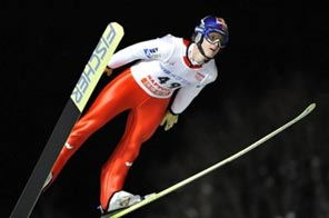 Thomas Morgenstern of Austria flies through the air during his first jump on the first day of the World Cup ski jumping Sapporo meet at Okurayama Hill in Sapporo. Source: AFP