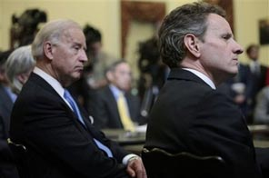 Treasury Secretary Timothy Geithner, right, and Vice President Joe Biden listens as President Barack Obama announces economic initiatives for struggling middle class families, Monday, Jan. 25, 2010, in the Eisenhower Executive Office Building across from the White House in Washington. Source: AP