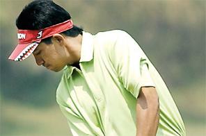 Rupak Acharya plays a shot during the Surya Nepal NPGA Tour Championship second round at the Gokarna Golf Club in Kathmandu on Wednesday. Source: THT