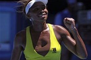 Venus Williams of the United States celebrates after beating Francesca Schiavone of Italy to win their Women's singles fourth round match at the Australian Open tennis championship in Melbourne, Australia, Monday Jan. 25, 2010. Source: AFP