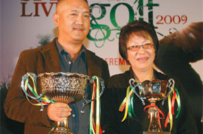 Winners of the third Spey Livet Golf Tournament AT Sherpa and Kalpana Limbu (right) with the trophies in Kathmandu on Saturday. Source: THT