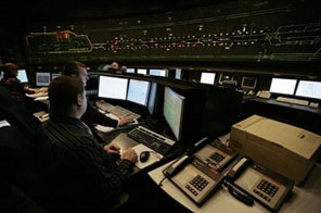 File photo of the Eurotunnel control room in Folkestone, Kent. The government will sell off a raft of state assets, Prime Minister Gordon Brown was to say Monday as he bids to reclaim the initiative on reducing recession-hit Britain's debt. Source: AFP
