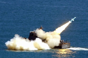 A Hsiungfeng missile is seen being launched by the Taiwan navy during wargames in 2003. Source: AFP