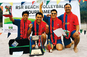 The Everest Bank team after winning the Riverside Spring Resort Corporate Beach Volleyball Tournament on Sunday. Source: THT