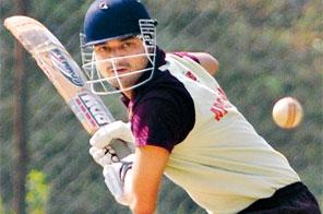 Sandesh Katuwal of APCA Nepal bats against Bank of Asia Nepal during their Soaltee Crowne Plaza Super Sixes Cricket Tournament in Kathmandu on Wednesday. Source: Rajendra Manandhar