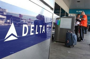 The logo of Delta Airlines seen at San Francisco International Airport. The airline and its SkyTeam alliance partners have offered Japan Airlines a billion-dollar financial lifeline, as Tokyo refused to rule out allowing the carrier going bankrupt. Source: AFP