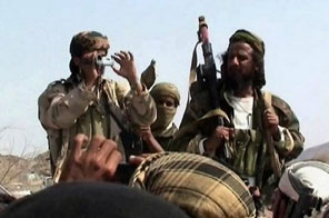 Men claiming to be Al-Qaeda members arrive to address a crowd in Yemen's southern province of Abyan. The United States and Britain stepped up the fight against an emerging  Source: AFP