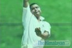 Raju Basnet of Region-3 bowls against Region-5 during the Springwood Twenty20 National Cricket Tournament at the TU stadium on Tuesday. Source: THT
