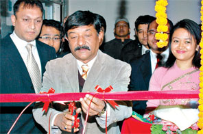 Ribbon-cutting at the inauguration ceremony of First Microfinance Development Bank Ltd that took place in Kathmandu on Friday. Source: THT