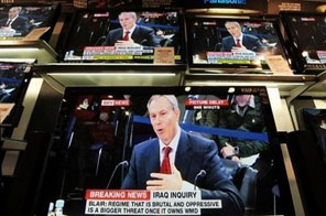 TV sets showing former British Prime Minister Tony Blair giving evidence to the Iraq War Inquiry are pictured at a shop in London. Blair said he had no regrets about removing Saddam Hussein after delivering a robust defence of the 2003 invasion of Iraq at a public inquiry into the war. Source: AFP