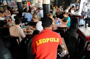 Customers at Leopold's cafe in Mumbai on November 5. Eight people, including two members of staff, were killed by militants at the restaurant, which reopened only 24 hours after the nearby Taj Mahal Palace and Tower hotel was declared safe. Source: AFP