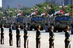 Chinese missiles are seen during a National Day parade in Beijing. China has successfully intercepted a missile in mid-flight, state media has said, in a test of its advanced air defence capabilities amid tensions over US arms sales to Taiwan Source: AFP