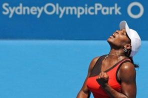 Serena Williams of the US shows her delight at winning a game during her match against Maria Jose Martinez Sanchez of Spain at the Sydney International tennis tournament, on January 12. Williams won in straight sets 6-1, 6-2. Source: AFP