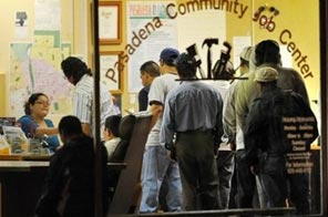 Job seekers line up before dawn to register at a community employment center, on October 2, in Pasadena, California. US officials have said President Barack Obama's stimulus plan has saved or created at least 650,000 jobs, and likely more than a million, as they battle a momentous unemployment crisis. Source: AFP