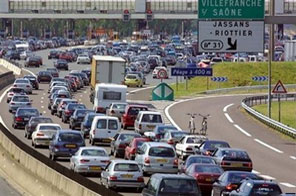 Traffic jam seen in France. Half of urban Europe endures noise pollution from road that are loud enough to disrupt sleep and trigger hypertension, according to a report released Monday Source: AFP