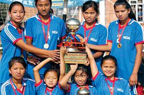 New Diamond School girls with the ninth Annal Jyoti Running Cup Inter-school Volleyball Tournament trophy in Kathmandu on Saturday. Source: NSC
