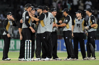 New Zealand cricketers celebrate teammate after the victory first Twenty20 match between Sri Lanka and New Zealand at The R Premadasa Stadium in Colombo on September 2, 2009. New Zealand beat Sri Lanka by 3 runs.  Source: AFP/Lakruwan WANNIARACHCHI.