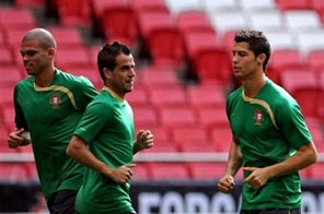 Portugal's national team players are seen training at Luz Stadium in Lisbon, in October. Having failed to secure automatic qualification for the S.Africa World Cup, Portugal must overcome Bosnia-Herzegovina in the upcoming play-offs. Source: AFP