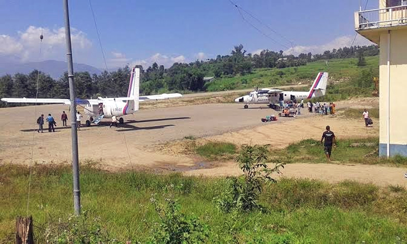 An aircraft of Nepal Airline's Corporation at the Taksar Airport of Bhojpur district on Monday, September 28, 2015. Photo : Niroj Koirala