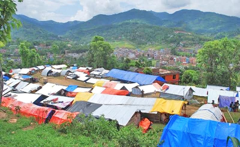 Makeshift houses constructed at Sangakosh Pakha of Dhadingbesi in Dhading district, in September 2015. Photo: Keshav Adhikari