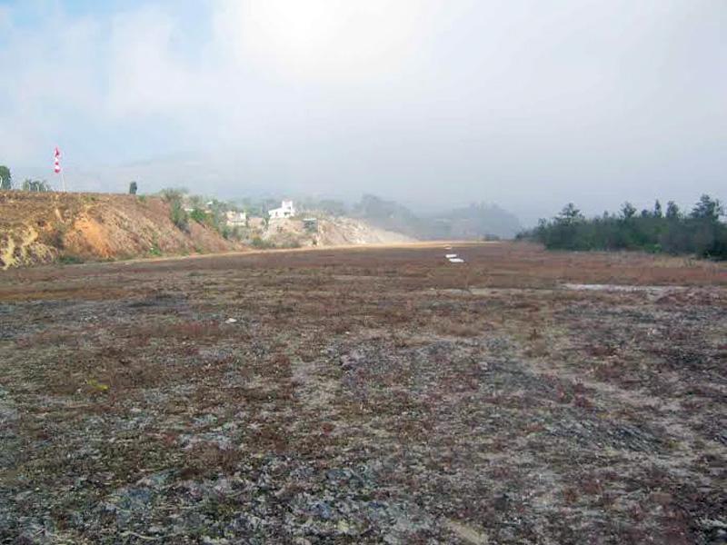 Thamkharka Airport that remains closed during the rainy season, in Khotang district. Photo: Dilip Khatri