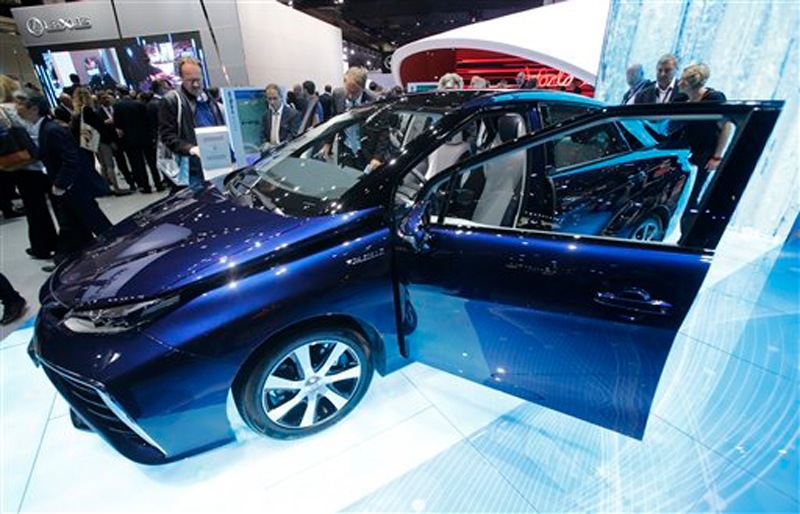 The new Toyota Mirai is displayed on the first press day of the Frankfurt Auto Show IAA in Frankfurt, Germany, Tuesday, Sept. 15, 2015. The car show runs through Sept. 27. Photo: AP