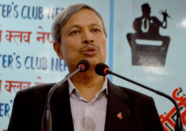 CPN-UML Vice-Chairman Bhim Rawal speaking at the Reporters' Club in Kathmandu, on Monday, September 28, 2015. Photo: Reporters' Club
