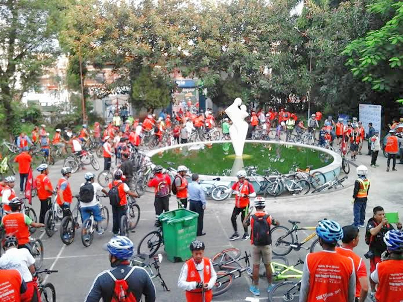Participants of a cycle rally organised by the Cycle City Pokhara on the occasion of World Heart Day at Shabhagriha Chowk of Pokhara in Kaski district on Tuesday, September 29, 2015. Photo: Bharat Koirala