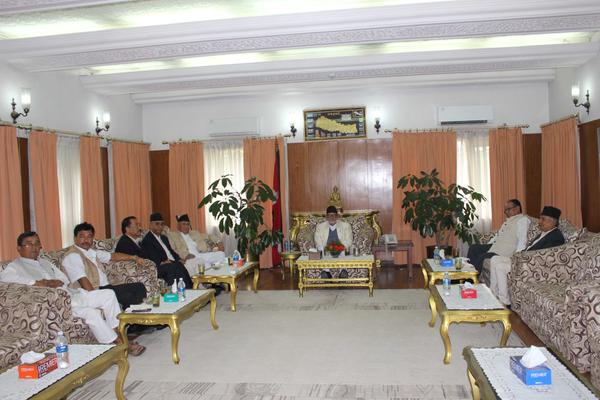Top leaders of Nepali Congress, CPN-UML, UCPN-Maoist and Rastriya Prajatantra Party-Nepal holding a meeting at the PM's residence in Baluwatar, on Thursday, September 10, 2015. Courtesy: KP Oli