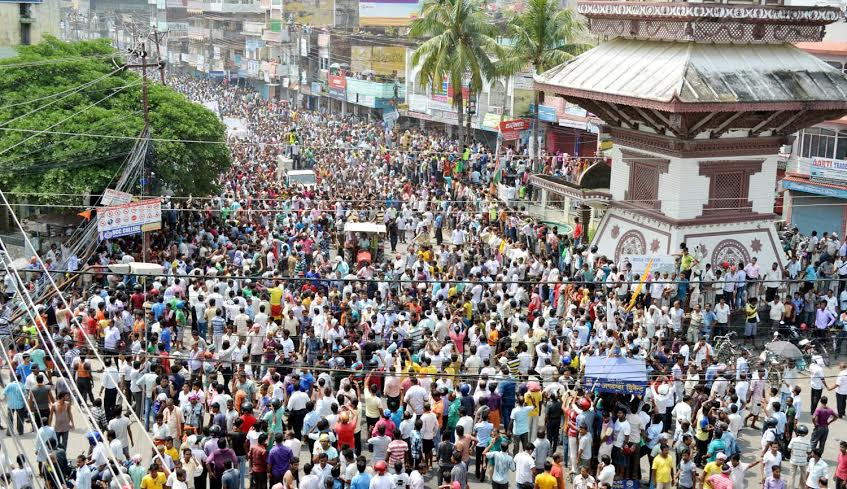 A sea of people taking part in funeral procession of five protesters who were killed in police firing during demonstrations in Birgunj on Saturday, September 05, 2015. Photo: Ram Sarraf