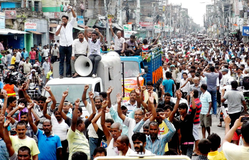 Funeral procession of protester Shatrudhan Patel (28) of Pakahamainpur VDC-8 who was shot during demonstration in Birgunj on Sunday, carried out on Wednesday in Birgunj. Photo: Ram Sarraf