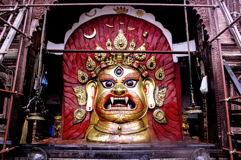 A full view of the idol of Lord Shwet Bhairava is seen as the temple opens for devotees for the Indra Jatra festival in Hanuman Dhoka Square, Kathmandu on Friday. Courtesy: Nipurna Bajracharya