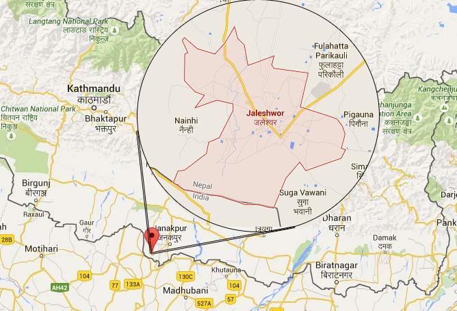 Jaleshwor, Mahottari district headquarters. Map: Bing