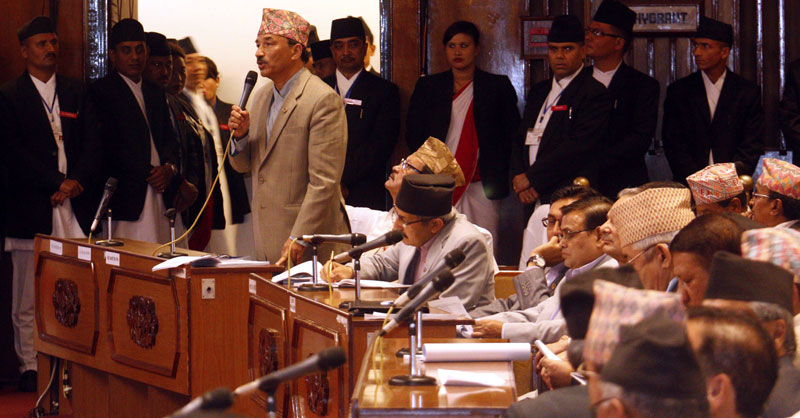 RPP-Nepal Chairman Kamal Thapa rejects to withdraw one of his amendment proposals during the meeting of Constituent Assembly, in Kathmandu, on Monday, September 14, 2015. Photo: RSS