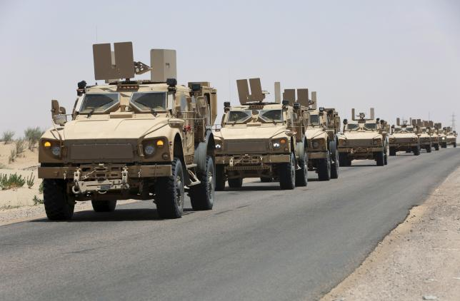 Military vehicles carrying Gulf Arab soldiers arrive at Yemen's northern province of Marib September 8, 2015.  Photo: Reuters