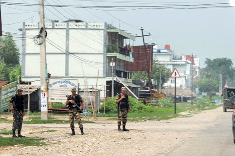 FILE: Security personnel patrolling during curfew imposed by the local administration, in Tikapur, Kailali, in early September. Photo: THT