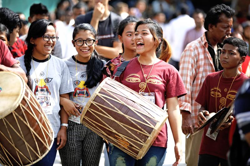 Girls playing traditional musical instruments during Indra Jatra festival at Basantapur Durbar Square, Kathmandu, on Sunday, September 27, 2015. Photo: Skanda Gautam/ THT