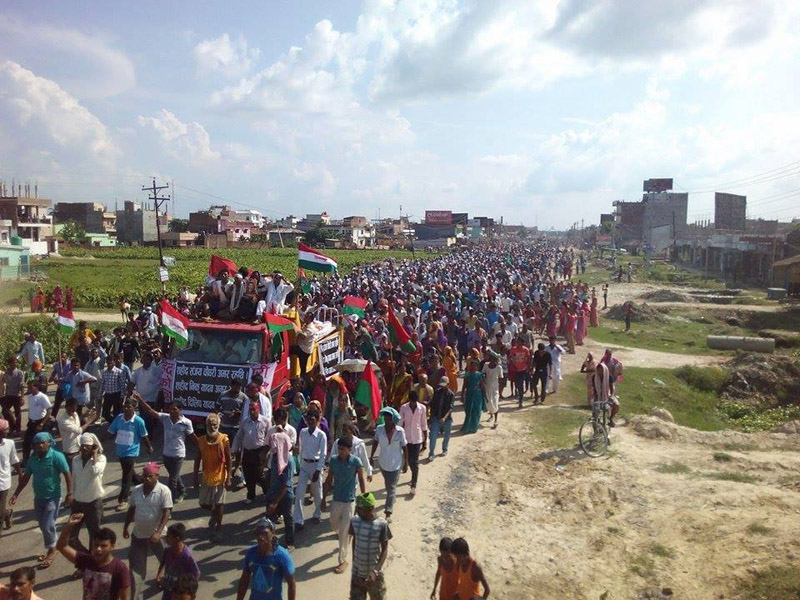 Locals take part in funeral procession of protesters, who were killed in police firing on Friday, in Janakpur on Tuesday, September 15, 2015. Photo: Brij Kumar Yadav