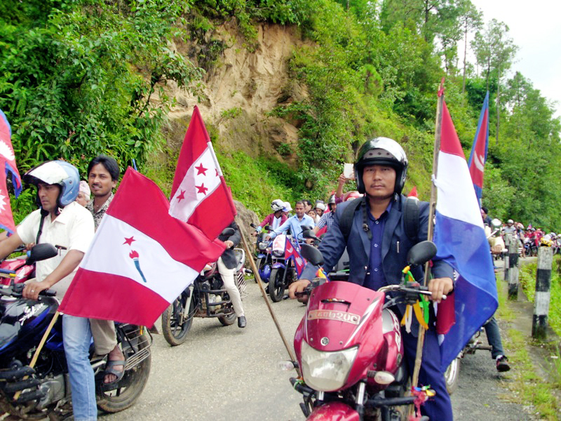 cadres of nepali congress take out a motorcycle rally in Panchthar, on Monday, September 21, 2015. Photo: Laxmi Gautam