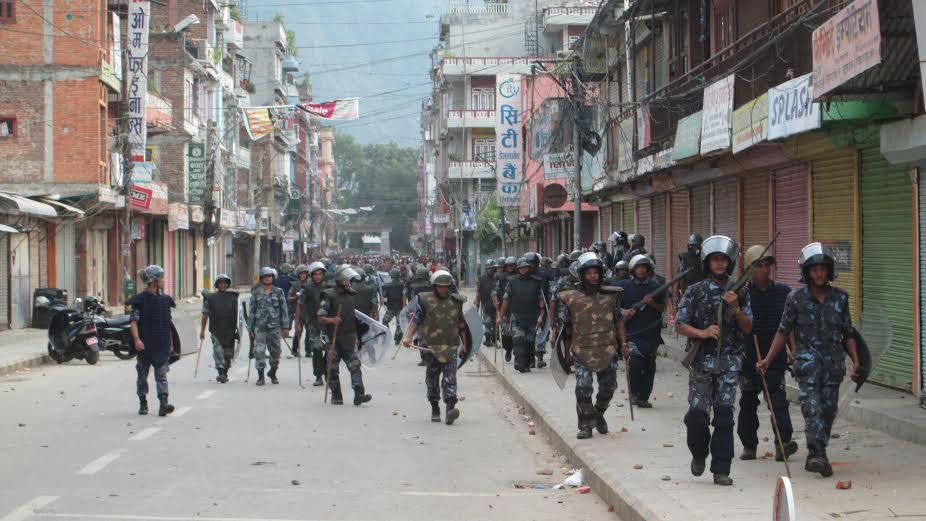Security personnel in Damauli of Tanahun, Photo: Madan Wagle