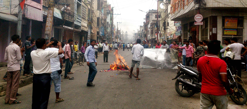 Tyres were set ablaze by Madhesi protesters on main road in Birgunj after the curfew was lifted for 16 hours on Tuesday, September 22, 2015. Photo: Ram Sarraf