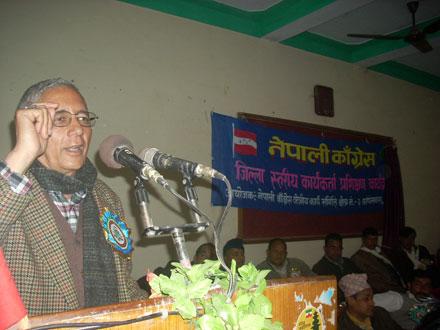 FILE: Nepali Congress (NC) central member Dr Shekhar Koirala speaking at the party's training programme in Kapilvastu on Saturdayu201a February 2u201a 2013. Photo: THT