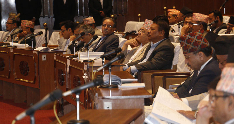 Top leaders of major parties read articles of the constitution as they are put to vote at the Constituent Assembly in Kathmandu, on Tuesday, September 15, 2015. Photo: RSS