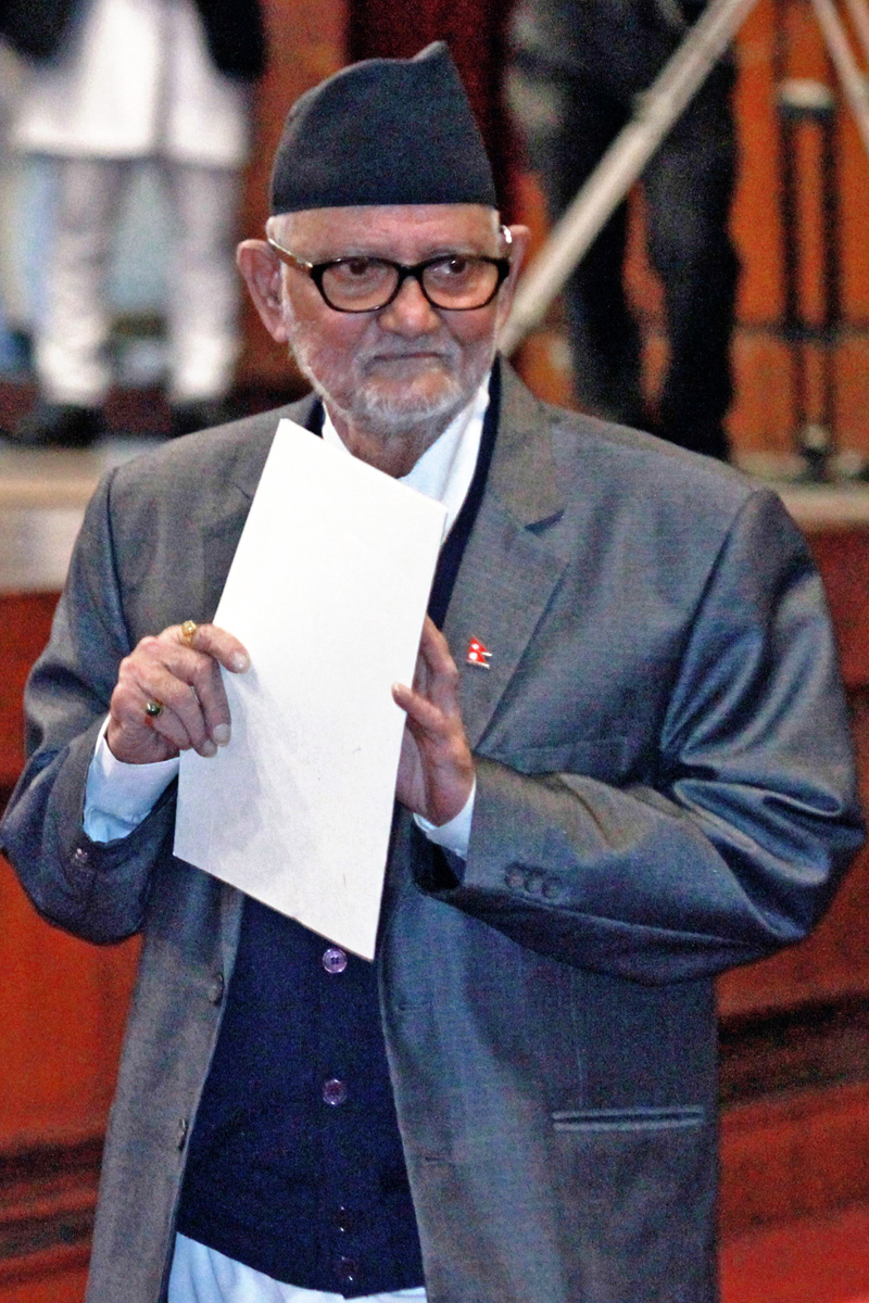 Prime Minister Sushil Koirala after addressing the Legislature Parliament on Friday, October 02, 2015. Photo: THT
