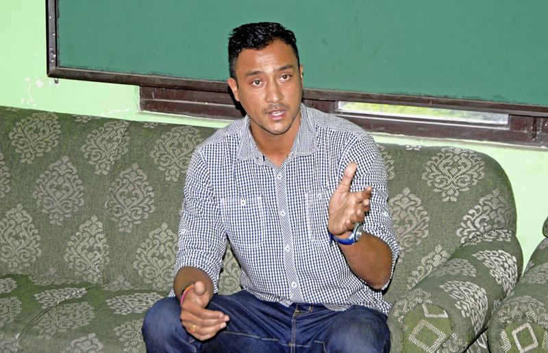 Nepal national cricket team skipper Paras Khadka gestures during a press conference meet in Kathmandu on Sunday. Photo: THT