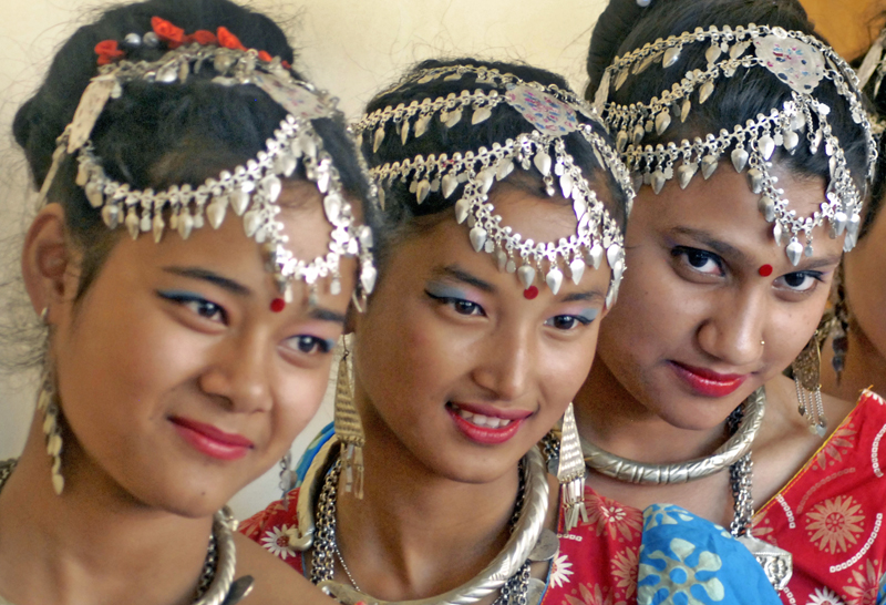 Tharu girls don traditional ornaments while participating in a special function organised to mark Jittiya festival in Jamal, Kathmandu, on Monday, October 05, 2015. Photo: THT