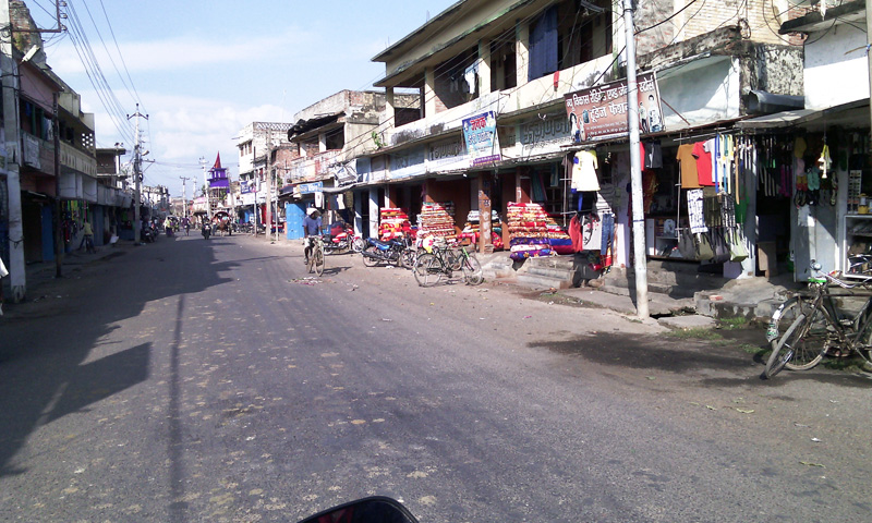 Shops that remain closed for more than two months in Gaur district headquarter of Rautahat district have reopend from Tuesday, October 13, 2015. Photo: Prabhat Jha