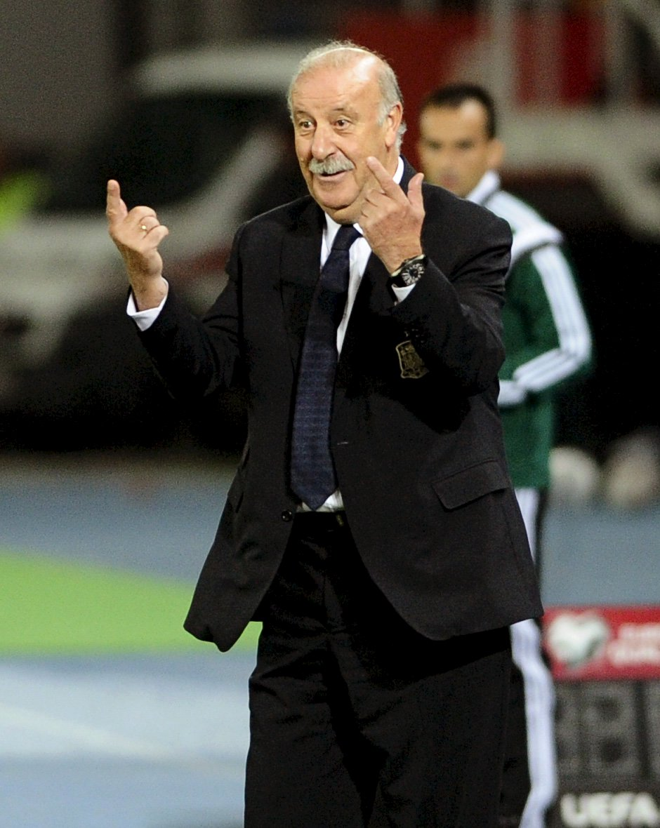 Spain's coach Vicente del Bosque gestures during the Euro 2016 qualification soccer match against Macedonia at Skopje city stadium, Macedonia, September 8, 2015. REUTERS/Ognen Teofilovski