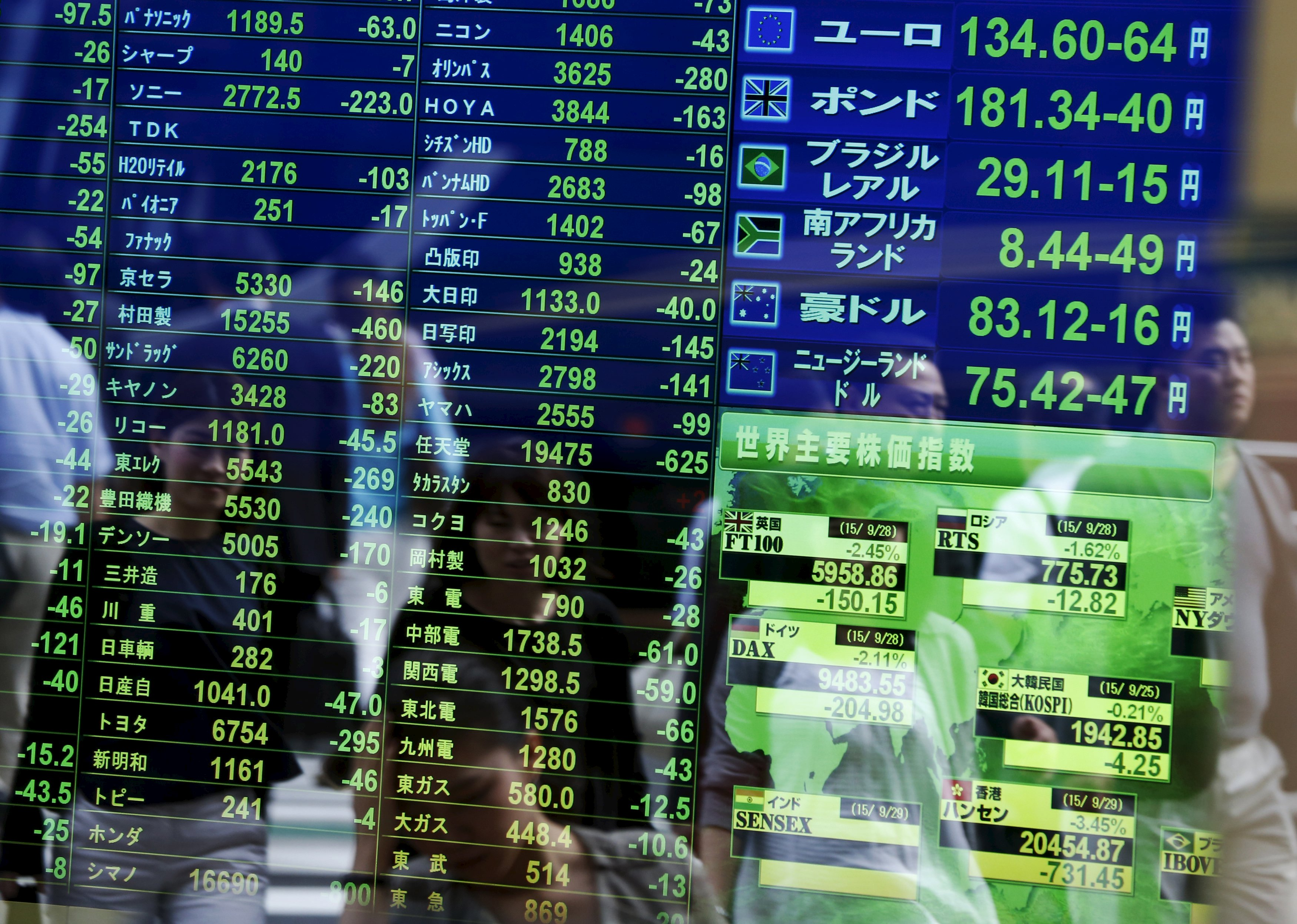 Passersby are reflected on a screen displaying  stock quotation, the stock market indices of various countries (bottom right) and exchange rates (top right) at a brokerage in Tokyo, Japan, September 29, 2015. Photo: Reuters