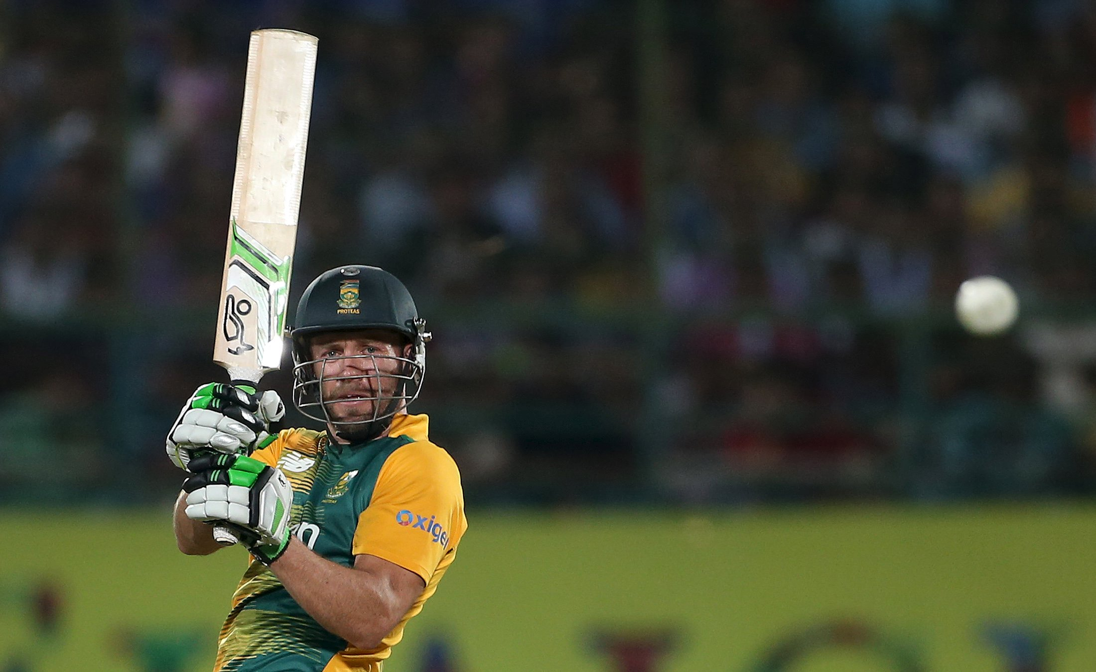 South Africa's AB de Villiers plays a shot during their first Twenty-20 cricket match against India in the northern Indian hill town of Dharamsala, India, October 2, 2015. REUTERS/Adnan Abidi